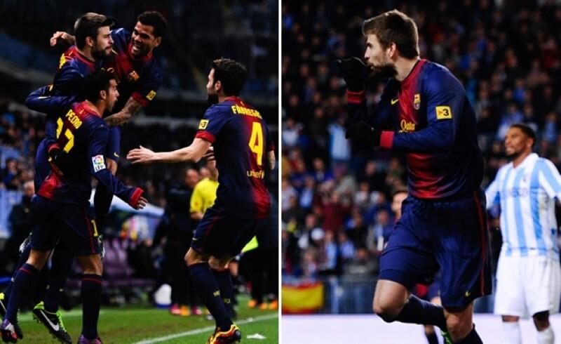 El novio de Shakira dedicó uno de los goles, que llevó a su equipo el Barcelona a la semifinales de la Copa del Rey, para su pequeño de dos días de nacido.