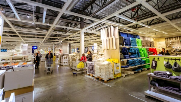 Interior of large IKEA Portland Home Furnishings store