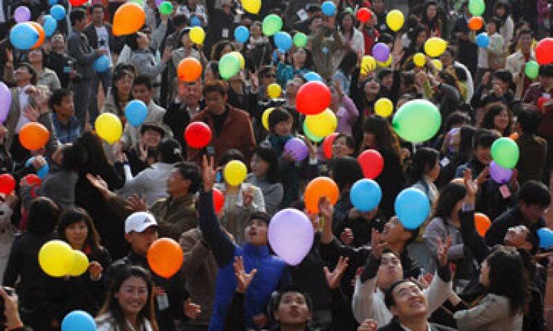 Durante todo el día, un marcador gigante en el Cubo de Agua llevará la cuenta de las ventas que Alibaba vaya logrando en sus portales. (Foto: EFE)