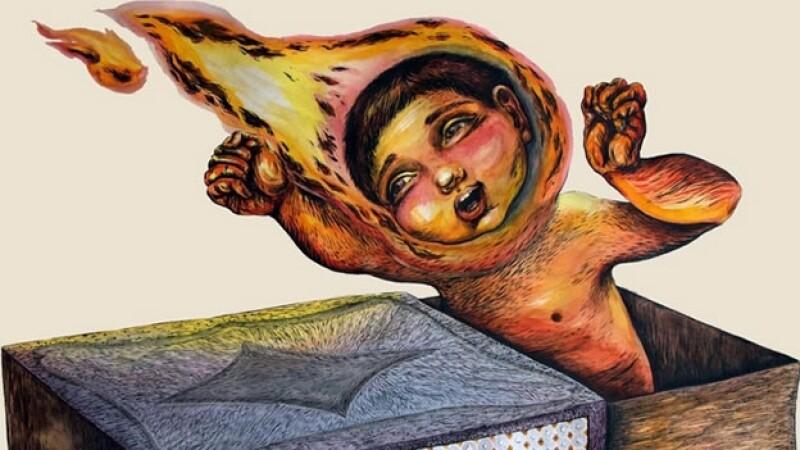 Uno de los cuadros que están a la venta para beneficio de los hijos de algunos de los normalistas desaparecidos en Guerrero
