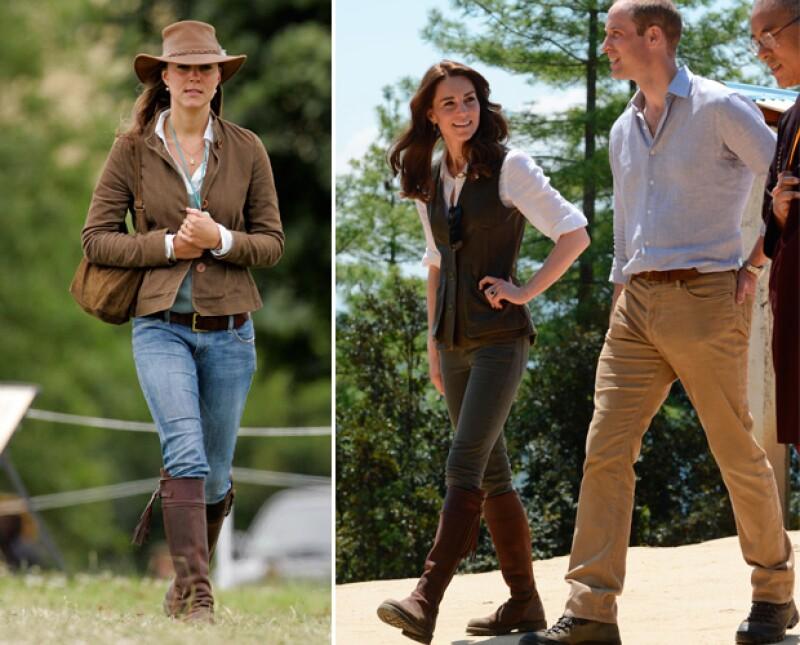En la imagen de la izquierda vemos a Kate luciendo las botas en el año 2005. La foto de la derecha fue tomada la semana pasada en Bután.