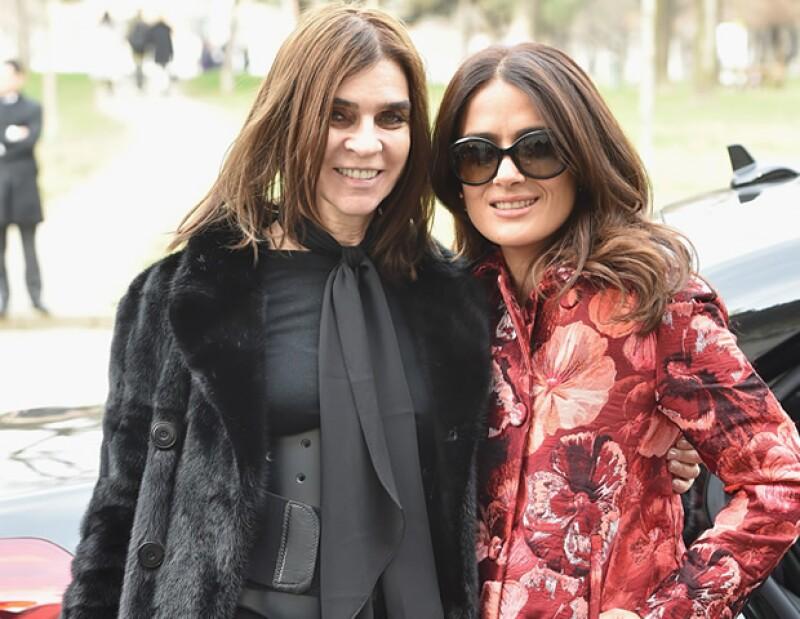 Carine Roitfeld y Salma Hayek en Milán.