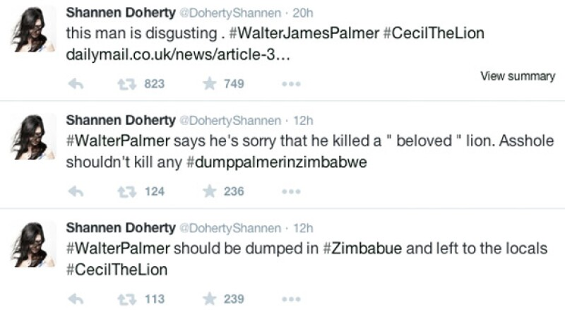 Shannen ha estado muy activa en su cuenta de Twitter compartiendo enlaces de peticiones y fotografías de Cecil.