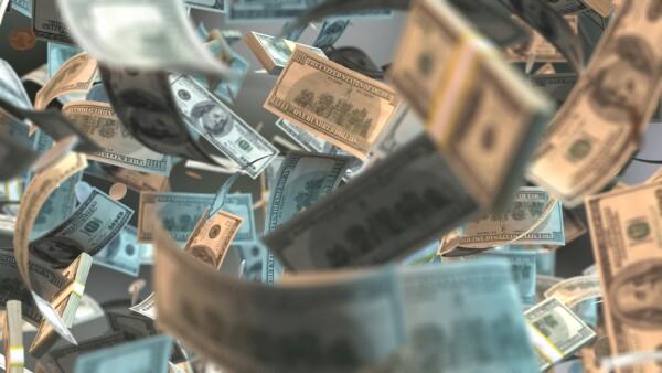 money notes flying Cash