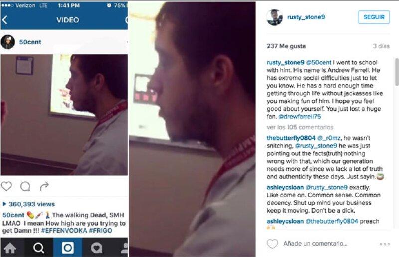 Este fue el comentario del compañero de Andrew que generó críticas e hizo que 50 Cent borrara su video.