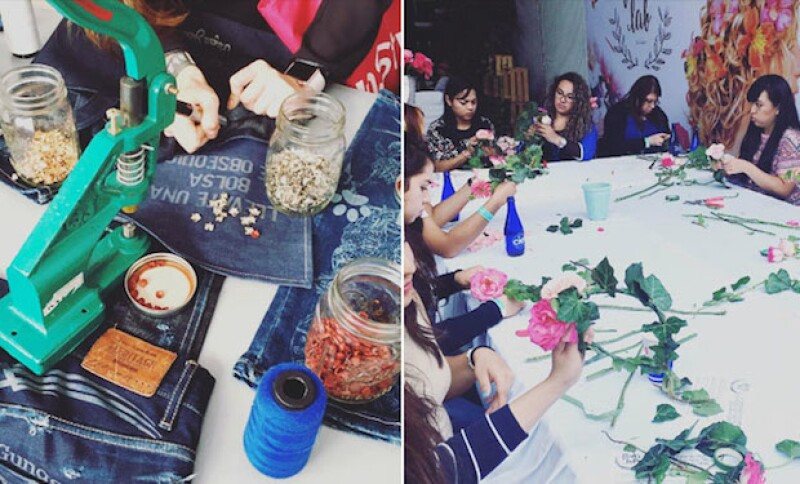 Las asistentes pudieron decorar sus propios jeans y hacer una corona de flores.