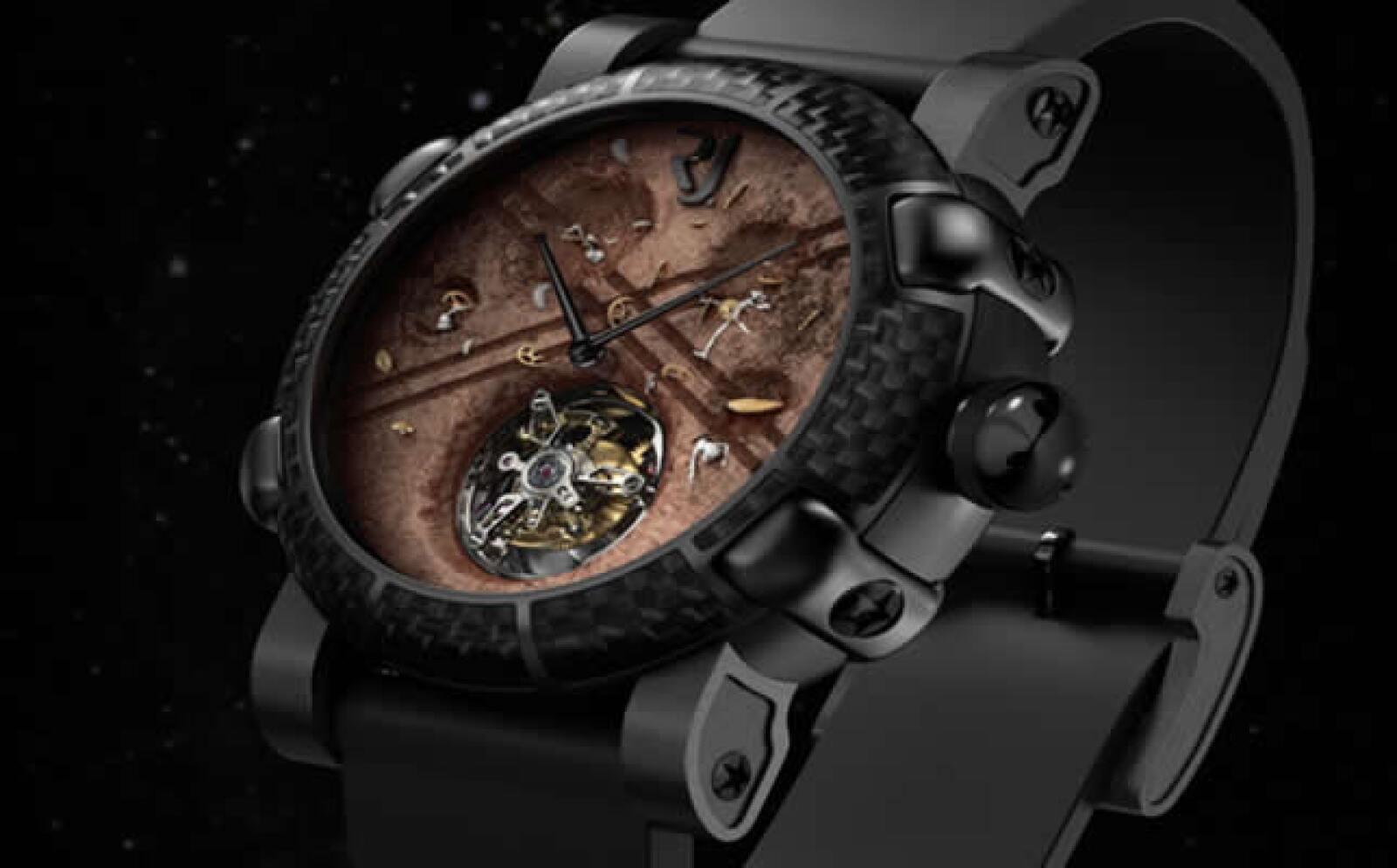 Roswell, es el nombre de este reloj que además de los fragmentos del Apollo 11 tiene fragmentos de fibras de trajes espaciales.
