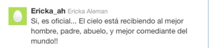 Este fue el mensaje con el que confirmó Ericka Alemán, nieta de Capulina, que su abuelito había muerto.