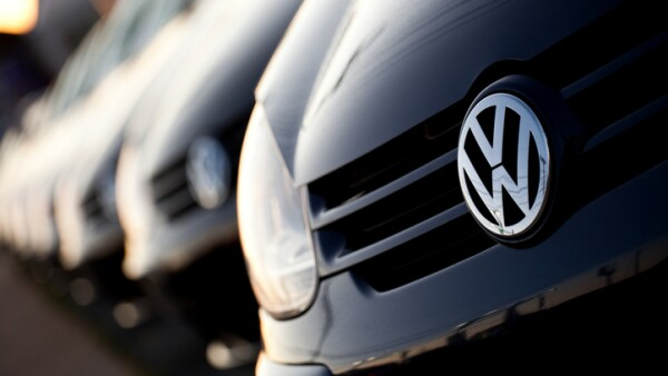 Row of new Volkswagens at dealership