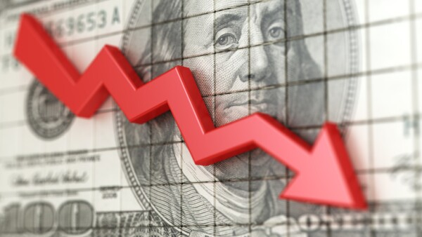 Business chart with red arrow down and dollars background. Loss money. Stock market crash 3d illustration.