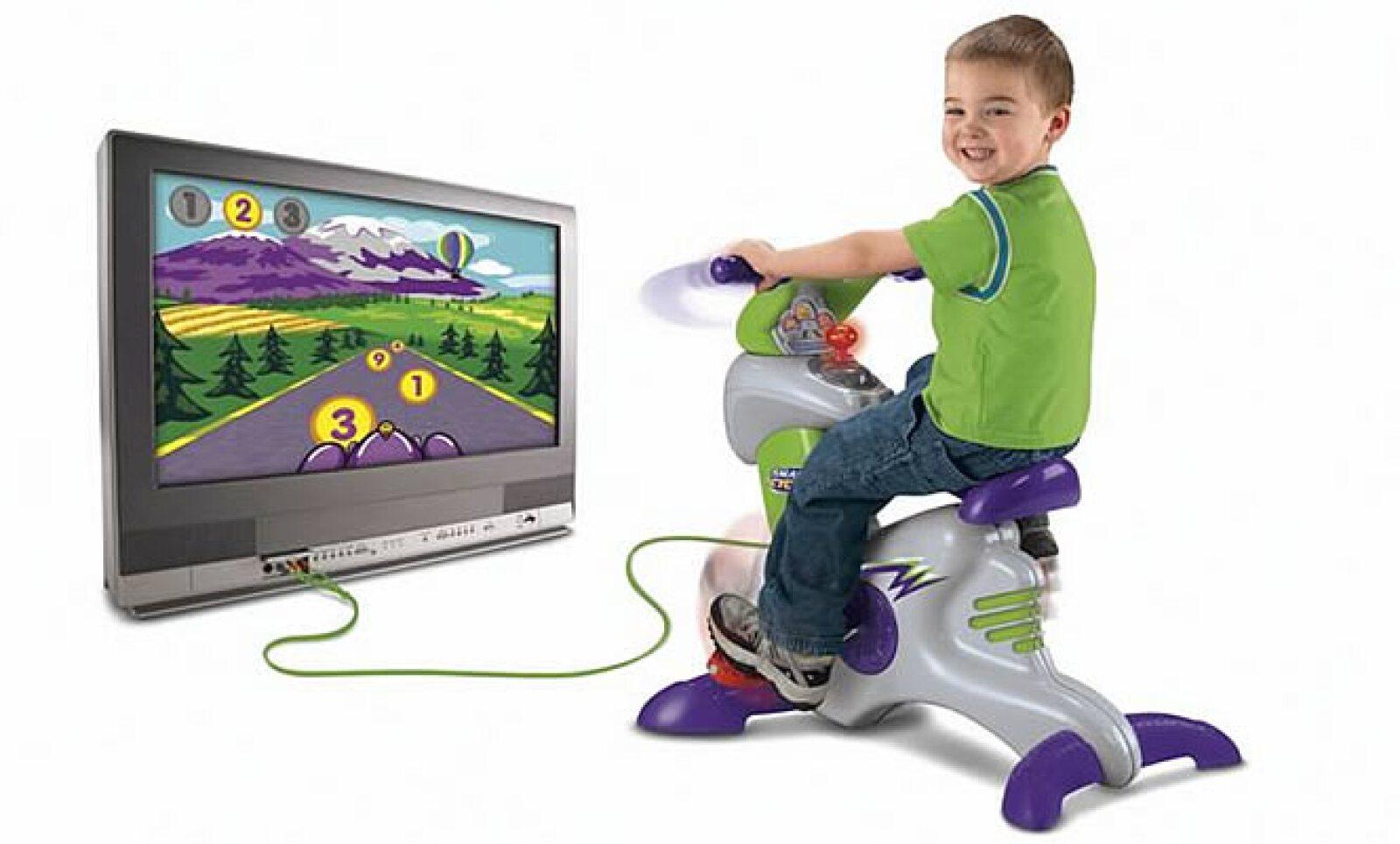 Mattel, el mayor fabricante de juguetes a nivel mundial ha decidido crear juguetes sanos. Arriba, una bicicleta que se sincroniza con un televisor y un videojuego.