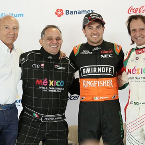 Jo Ramírez ,Héctor Alonso Rebaque, Sergio Pérez y Emerson Fittipaldi