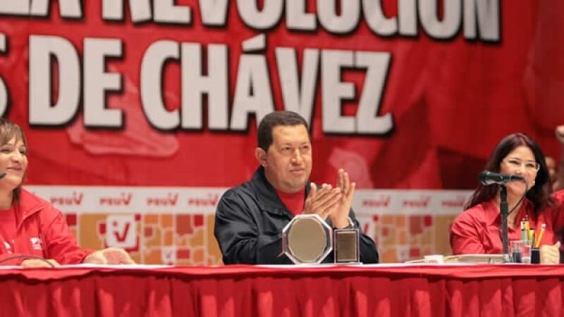 Chávez durante un acto del Partido Socialista Unido de Venezuela