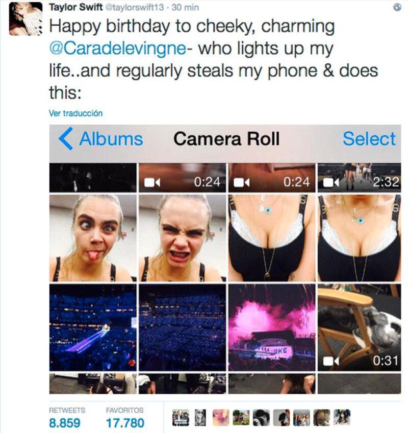 Así es como Taylo felicita a una de sus besties, con screenshot de las imágenes que tiene en su celular y que la propia modelo se toma.