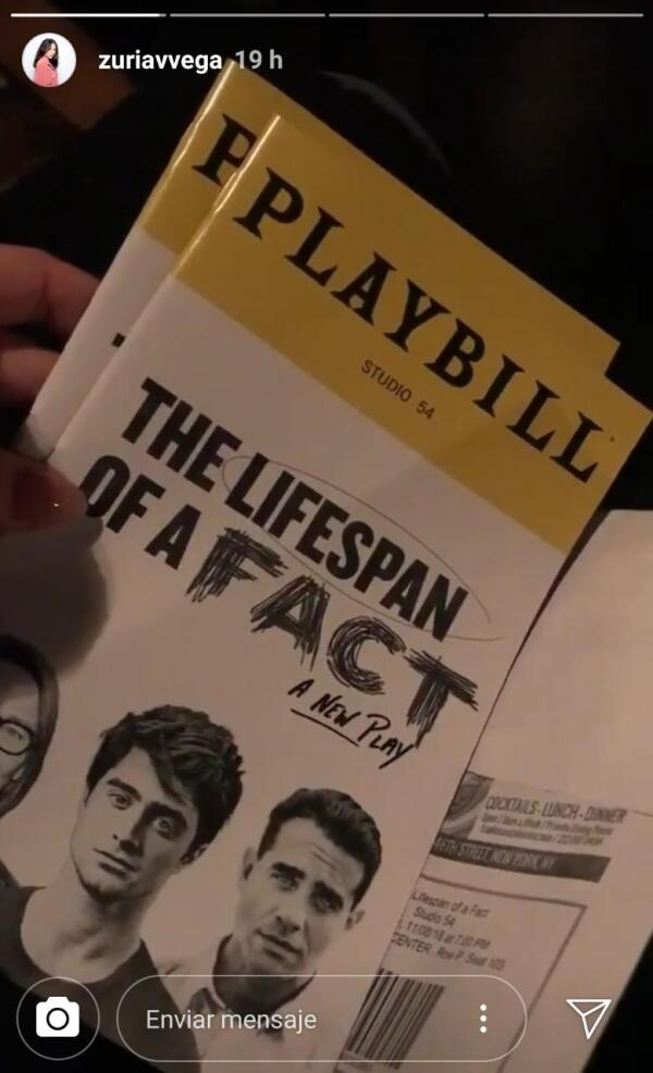 Zuria Vega y Alberto Guerra asistieron a ver la obra The Lifespan Of A Fact