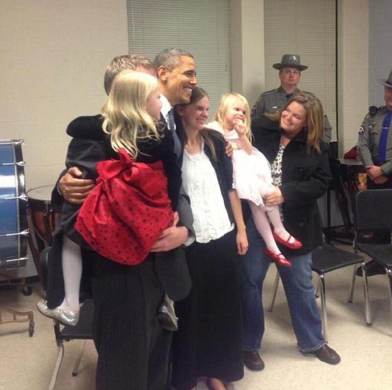 Obama se fotografió con una familia Parker que perdió a una integrante, Emilie.