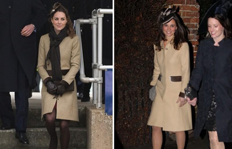 Kate y Pippa con el mismo abrigo Katherine Hooker.