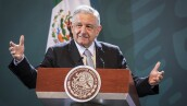 Mexico's President Andres Manuel Lopez Obrador speaks during a news conference in Mexico City