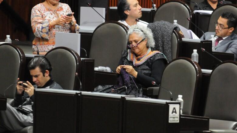 Con aguja e hilo, la diputada Laura Esquivel del partido Morena, se entretuvo en una de las sesiones del congreso tejiendo.