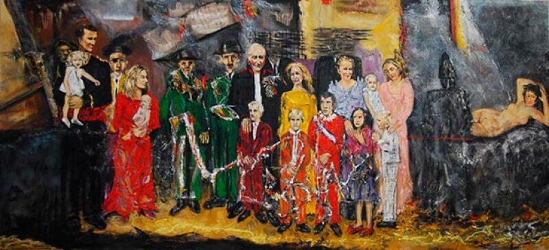 El pintor Javier de Pedro creó un cuadro en el que evidencia los pasos falsos que ha dado la familia, aquí la explicación que el msmo dio a un medio para entender su obra.