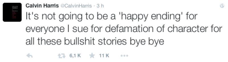 A través de Twitter, Calvin Harris mando un ultimátum.