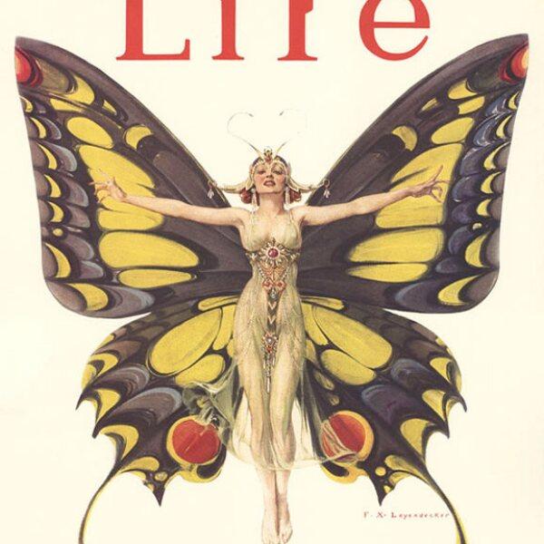 Life Magazine, febrero 1922: El ilustrador Frank X. Leyendecker, que también trabajaba con cristal, hacía publicidad y portadas. Esta obra, ´The Flapper´, fue su portada más reconocida.