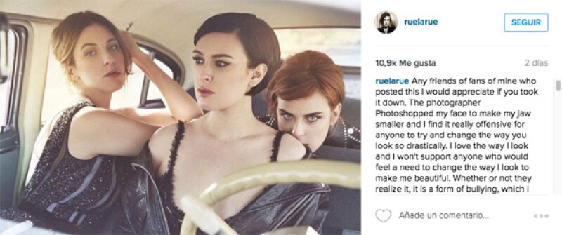 Rumer le pidió a sus amigos y fans que no publicaran la fotografía a manera de apoyo a lo sucedido.