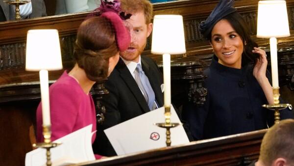 Las duquesas Kate Middleton y Meghan Markle en la boda de la princesa Eugene.