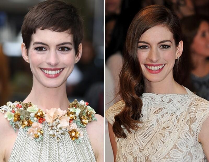 Aunque ahora la actriz usa el pelo en un moderno pixie, que adoptó para su papel en `Los Miserables´, su look clásico es con pelo más largo.