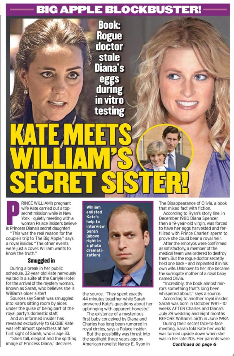 La misma revista publicó en el pasado que Kate había conocido a la supuesta hija de la princesa Diana.