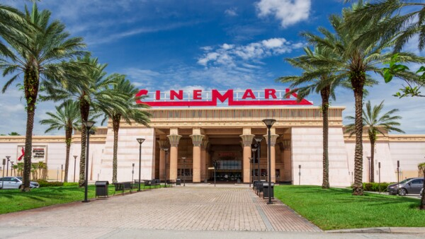 Exterior of Cinemark Paradise 24 movie theater with Egyptian theme - Davie, Florida, USA