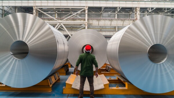 Worker standing in the factory