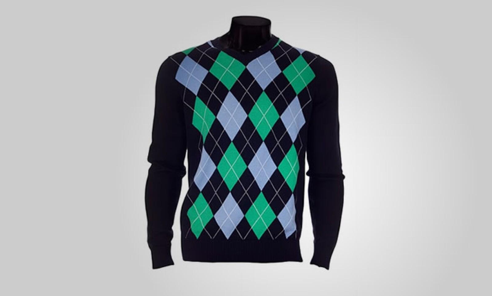 Un sweater de algodón, con estilo de rombos al frente y listo para alguna tarde con viento.