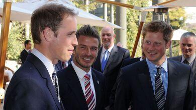 Príncipe William, David Beckham y el príncipe Harry