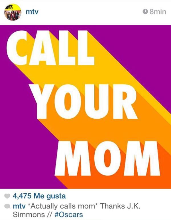 Ante el speach emotivo de J.K Simmons en el que señaló la importancia de tener cercanía con los padres vivos a través de una llamada y no un mensaje de texto, MTV le buscó el lado gracioso con este meme.