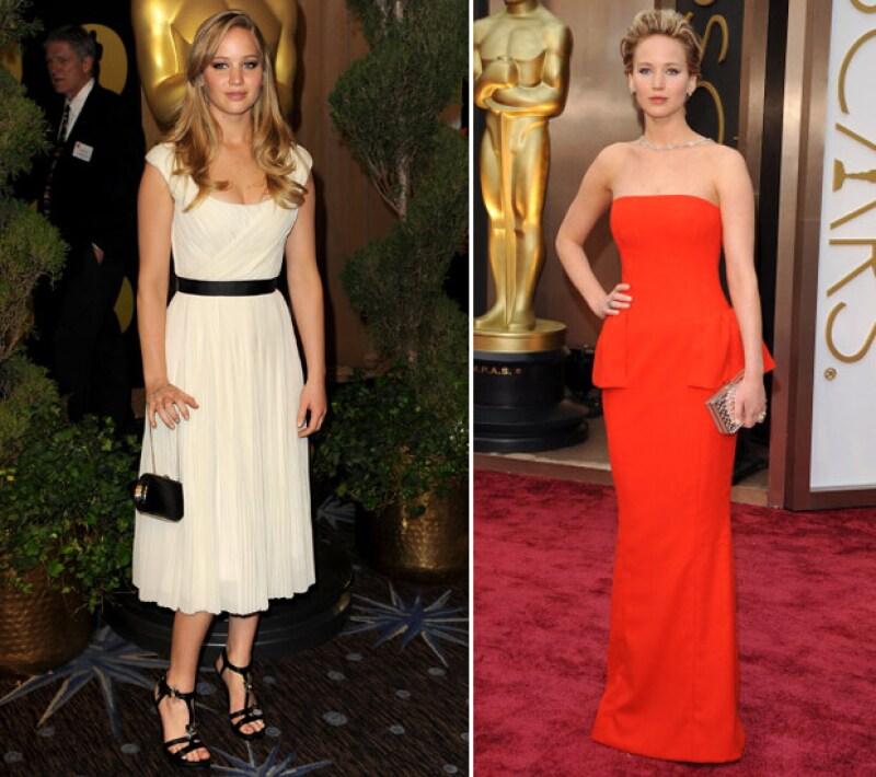 Jennifer Lawrence en 2011 y 2015.