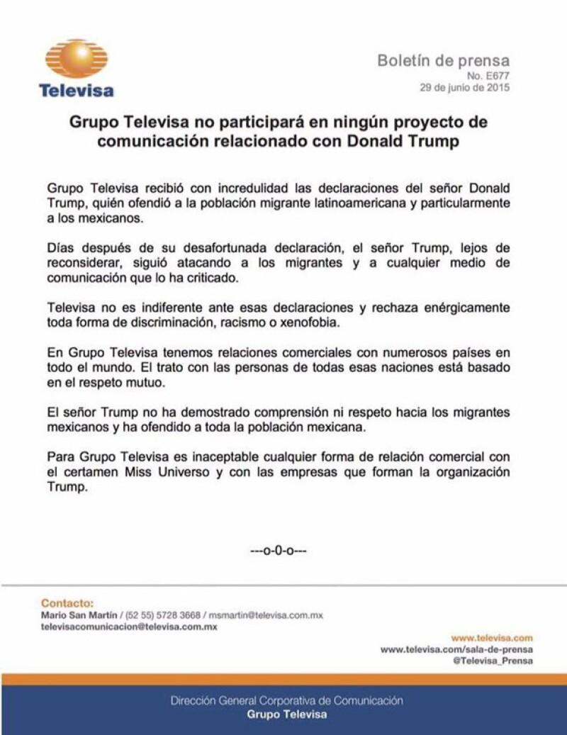 Este fue el comunicado que Televisa mandó, en el que dejan clara su postura sobre Donald Trump y sus declaraciones hacia México.