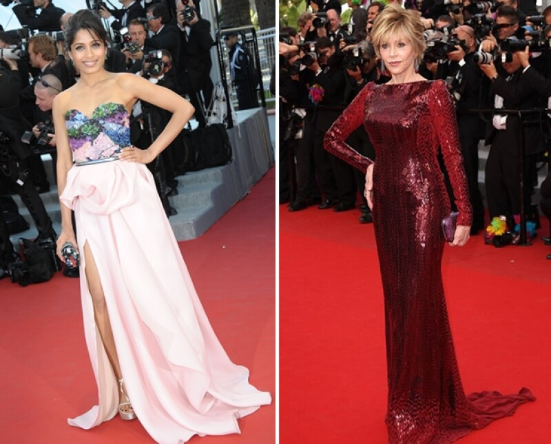 Freida Pinto y Jane Fonda tuvieron mejores momentos en Cannes.