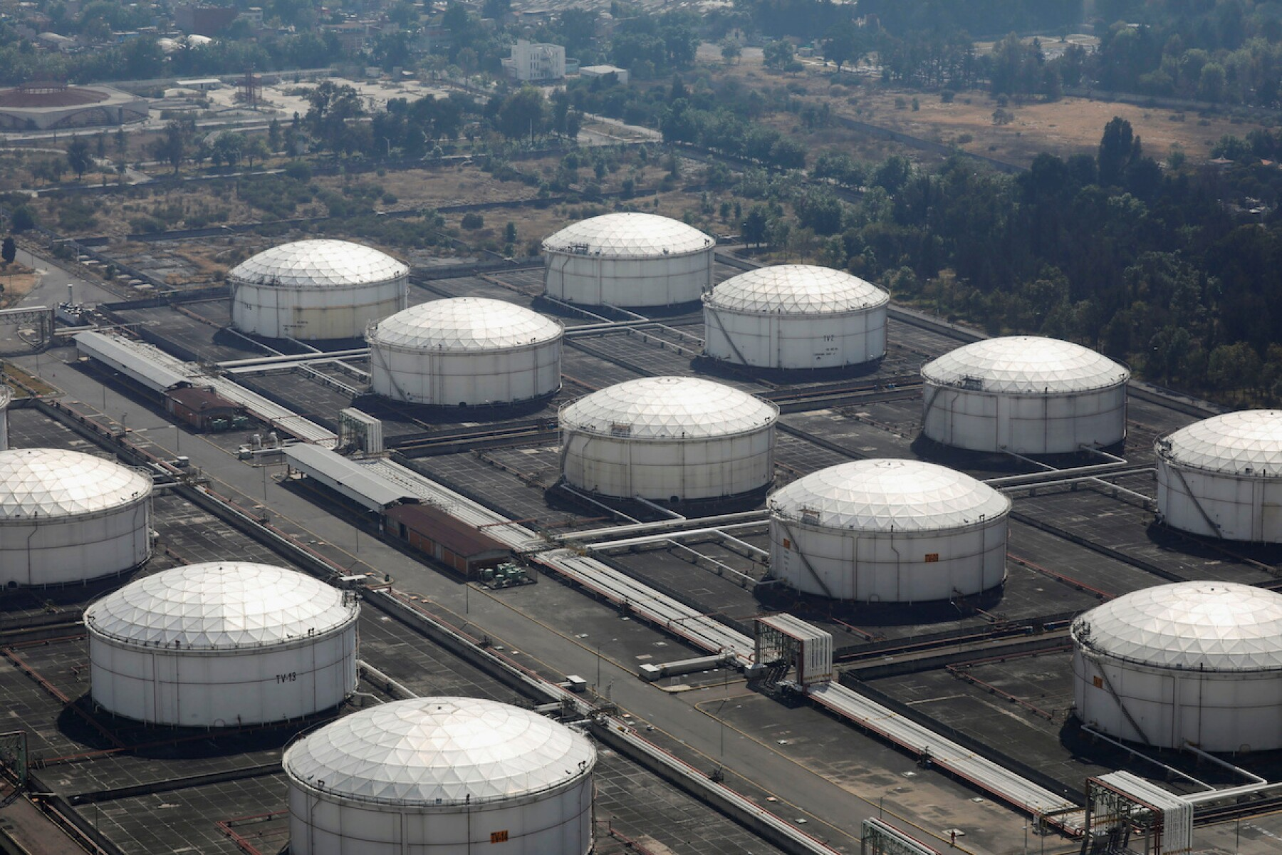 FILE PHOTO: An aerial view of Pemex's storage and distribution terminal on the outskirts of Mexico City