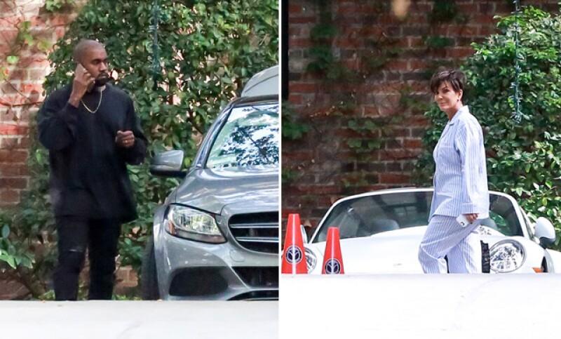 Kanye West fue visto afuera de la fiesta hablando por su celular. A la derecha está Kris Jenner, llegando al festejo de su hija.
