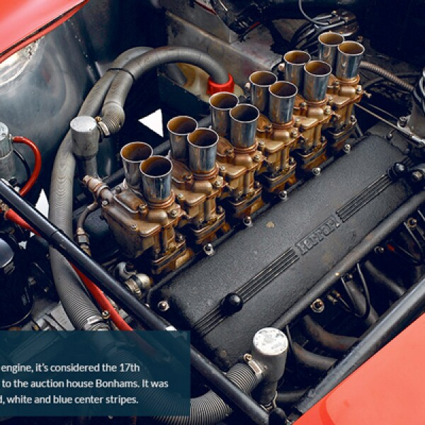 5.El auto tiene un motor de 3 litros V12 y es considerado como uno de los 17 GTO verdaderos, de acuerdo con las casas de subastas. Originalmente el auto era gris con rojo con rayas azules y blancas al centro.