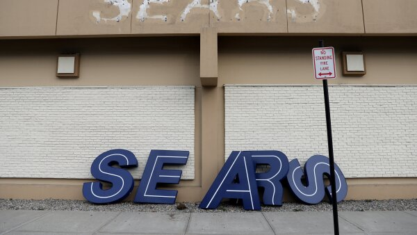 FILE PHOTO: A dismantled sign sits leaning outside a Sears department store in Nanuet