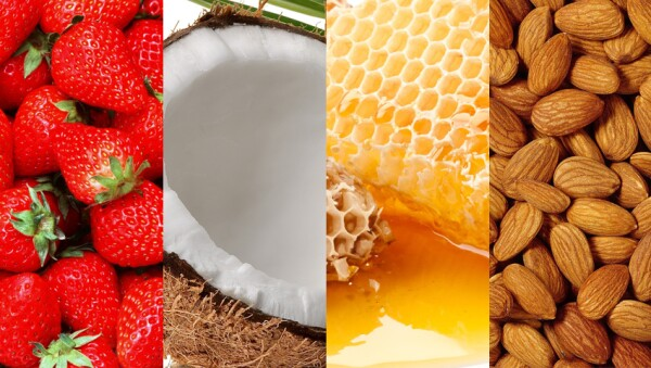 Usa fresas, aceite de coco, miel y aceite de almendras.