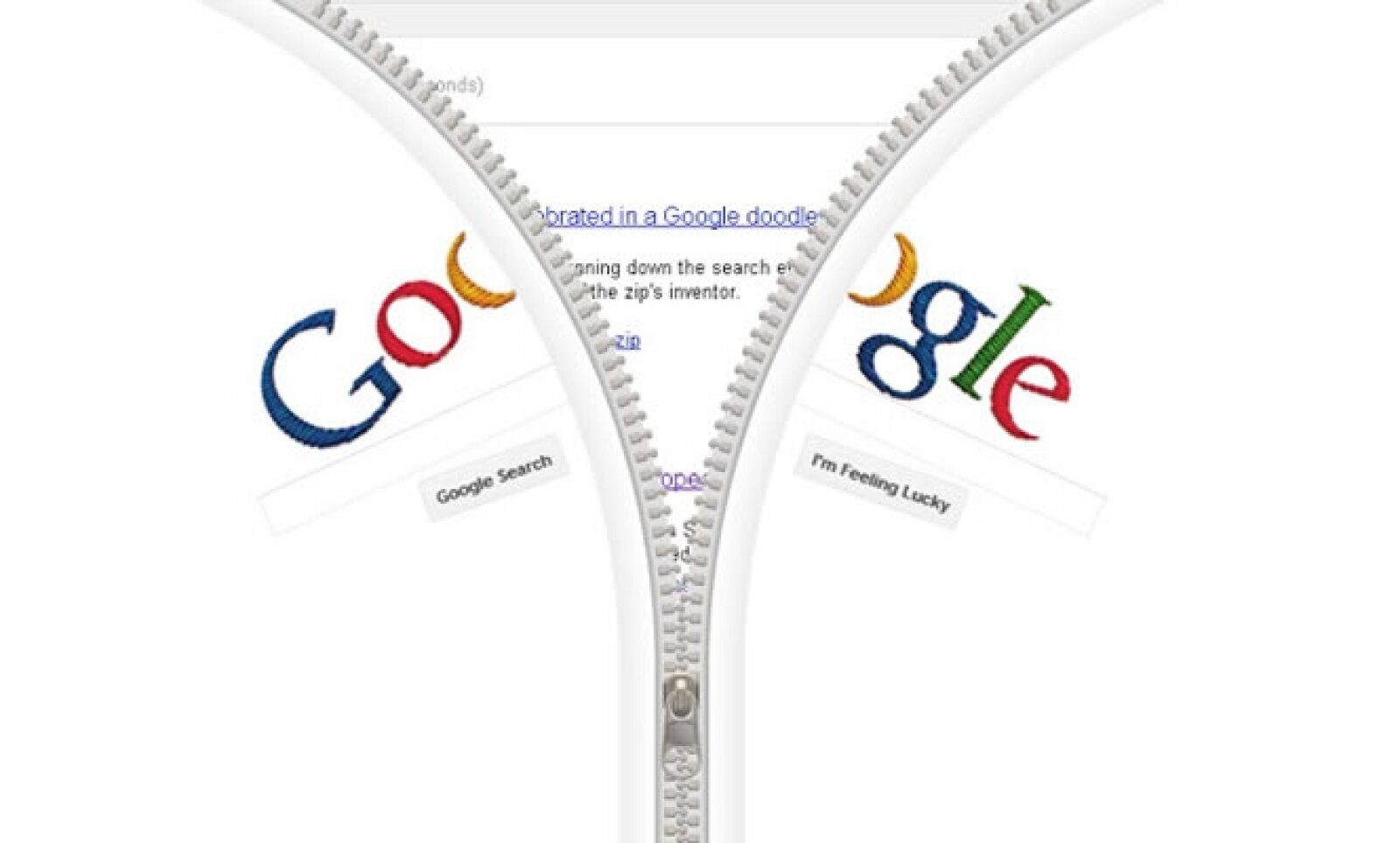 Lanzado el 24 de abril de 2012, este 'doodle' interactivo celebró al inventor del cierre, el sueco-estadounidense Gideon Sundbäck.