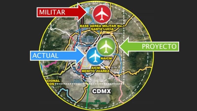 La ubicación del NAICM en comparación con el actual aeropuerto y la base militar de Santa Lucía