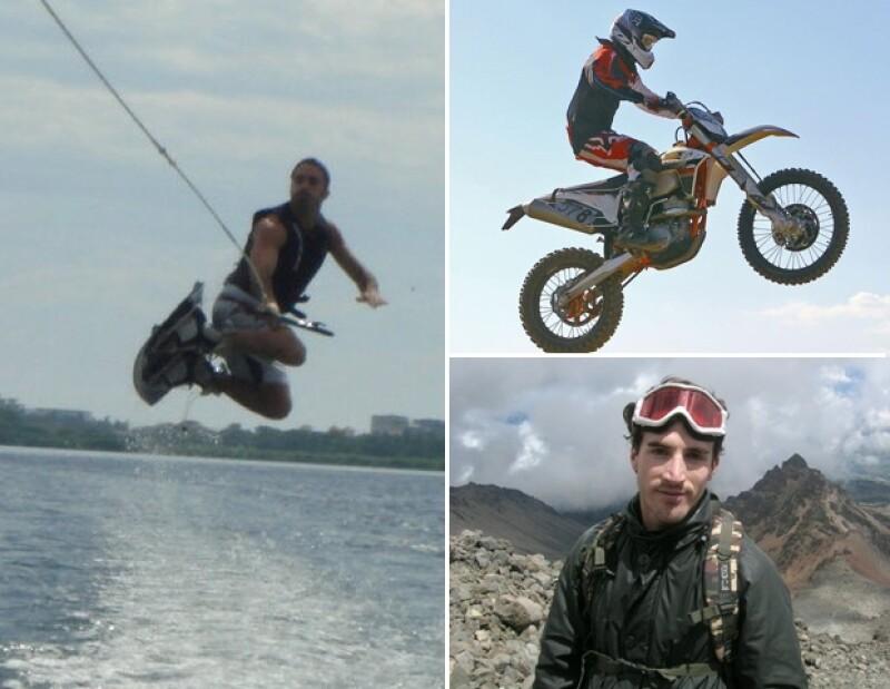 Toño de la Vega mantiene un cuerpo atlético ya que esquía en agua o nieve y corre en su moto.