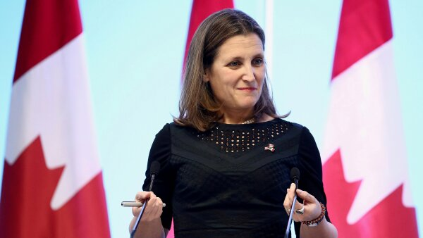 FILE PHOTO: Canadian Foreign Minister Freeland gestures during a joint news conference in Mexico City