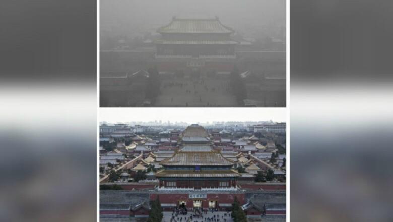 Dos fotos del lugar turístico, tomadas con días de diferencia.