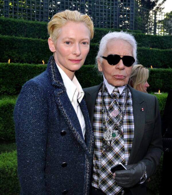 Tilda Swinton y Karl Lagerfeld