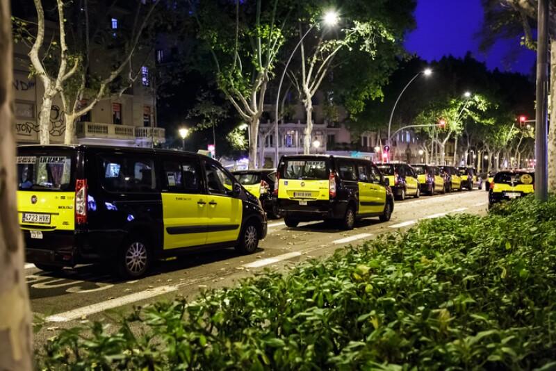 Taxi strike in Barcelona.
